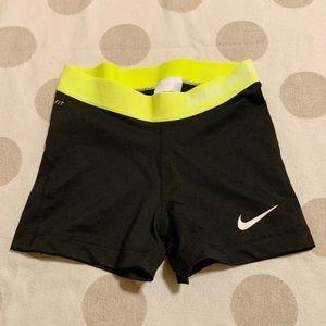 Nike Pro Black Shorts Yellow Waist spandex